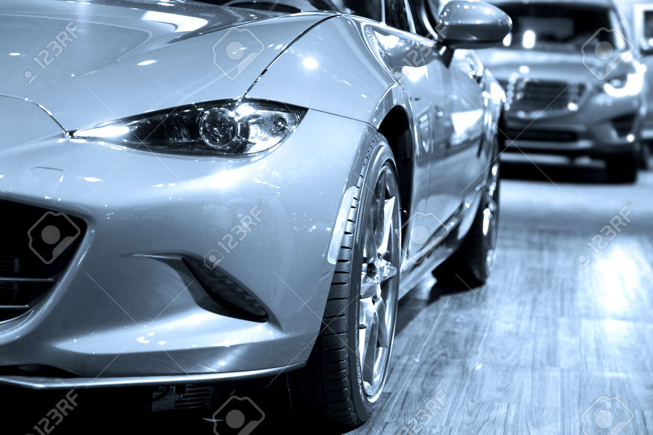 Sports cars in display at mall - 62313524