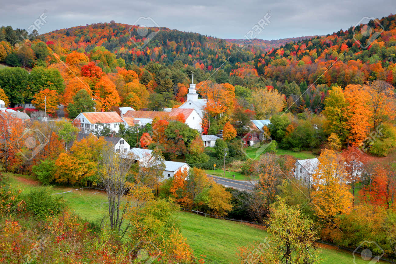 Small church in Topsham village in Vermont in the middle of fall foliage - 88297281