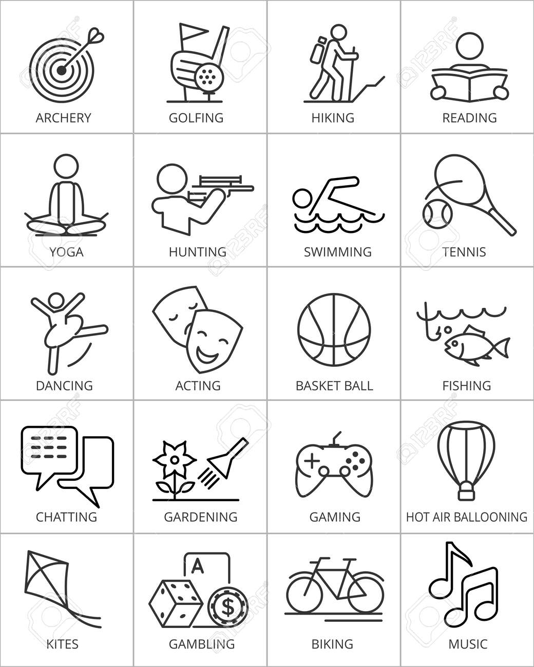 Illustration Of 20 Vector Hobby Icons. Stock Photo, Picture And ...