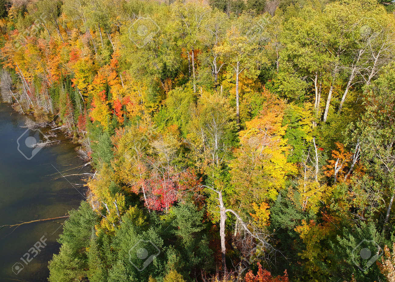 Aerial view of lake superior shore with autumn trees in Michigan upper peninsula - 163916603