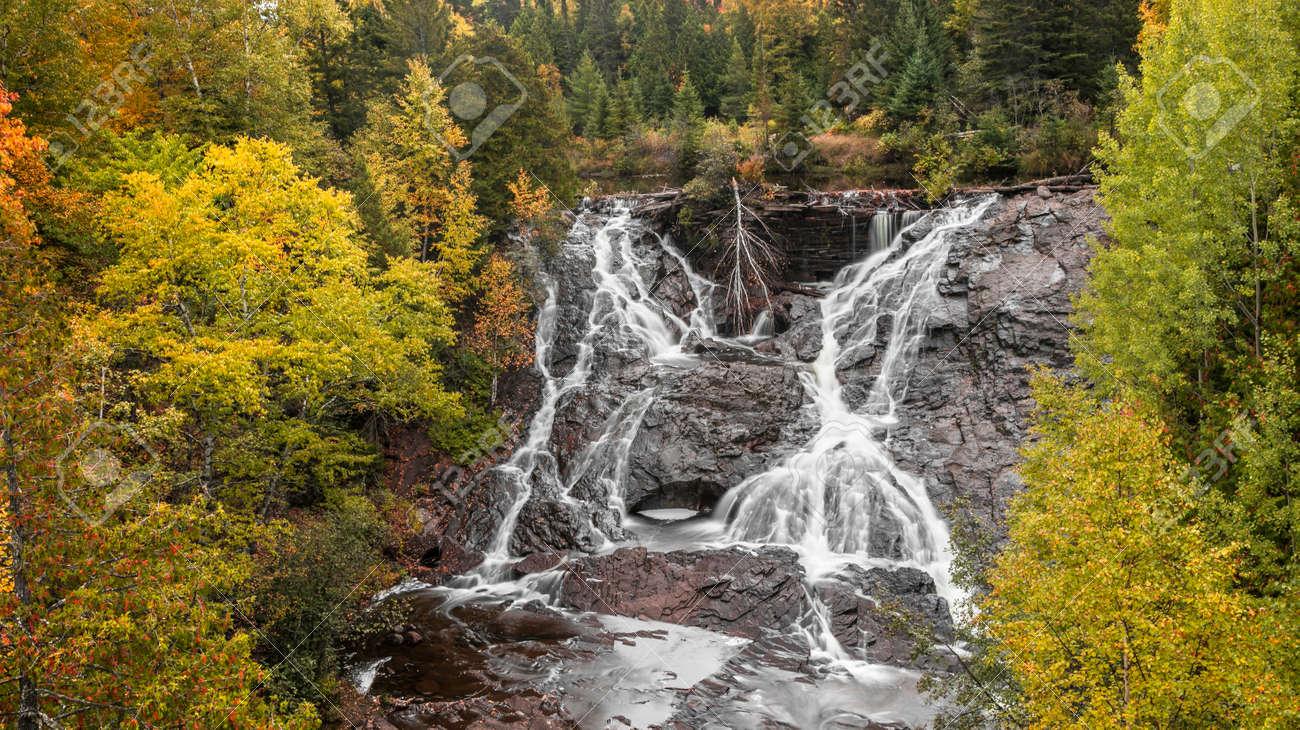 Eagle river falls near Eagle river city, Keweenaw peninsula in Michigan upper peninsula. - 163916605