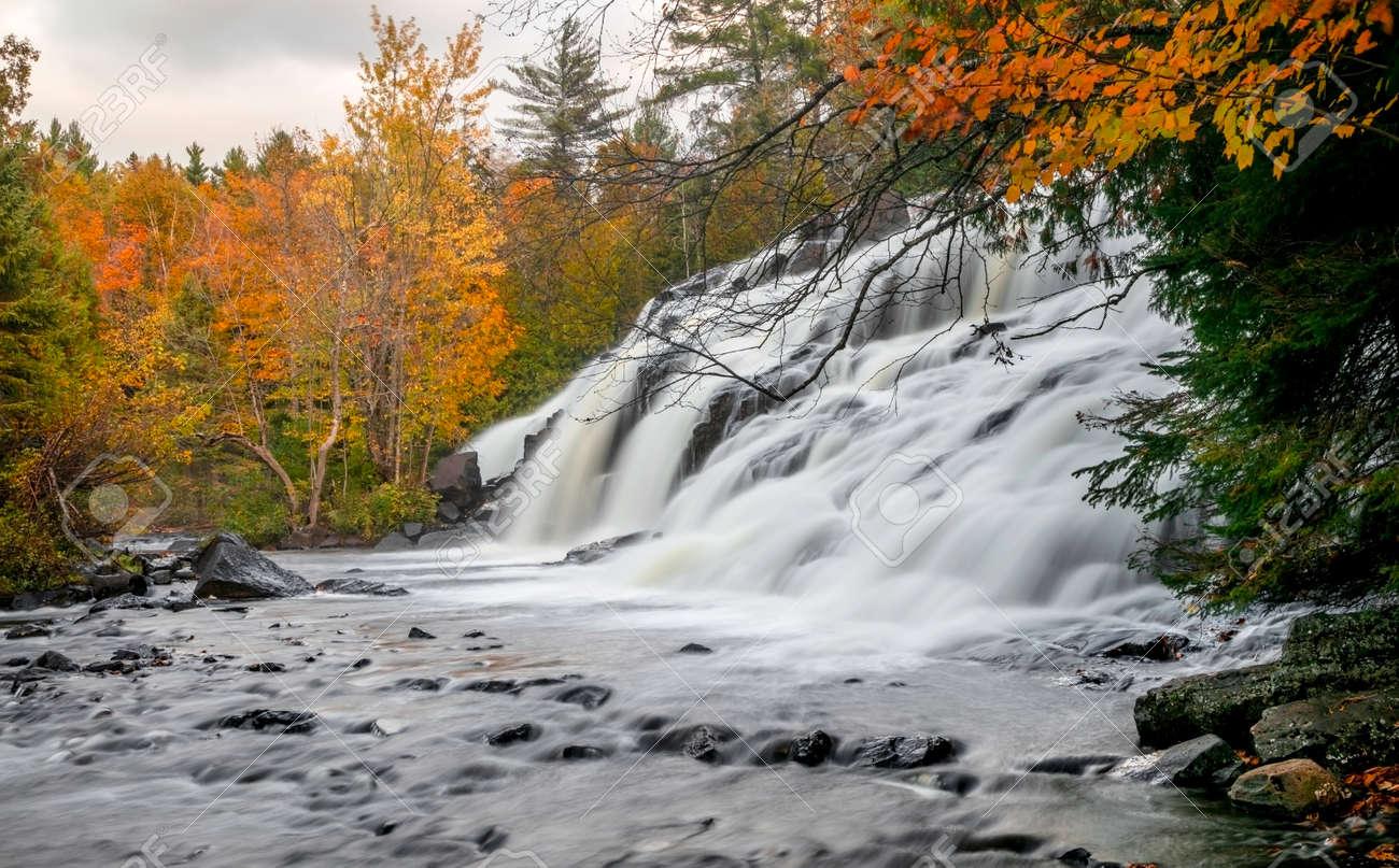 Scenic Bond falls near Paulding in Michigan upper peninsula in autumn time. - 163916607