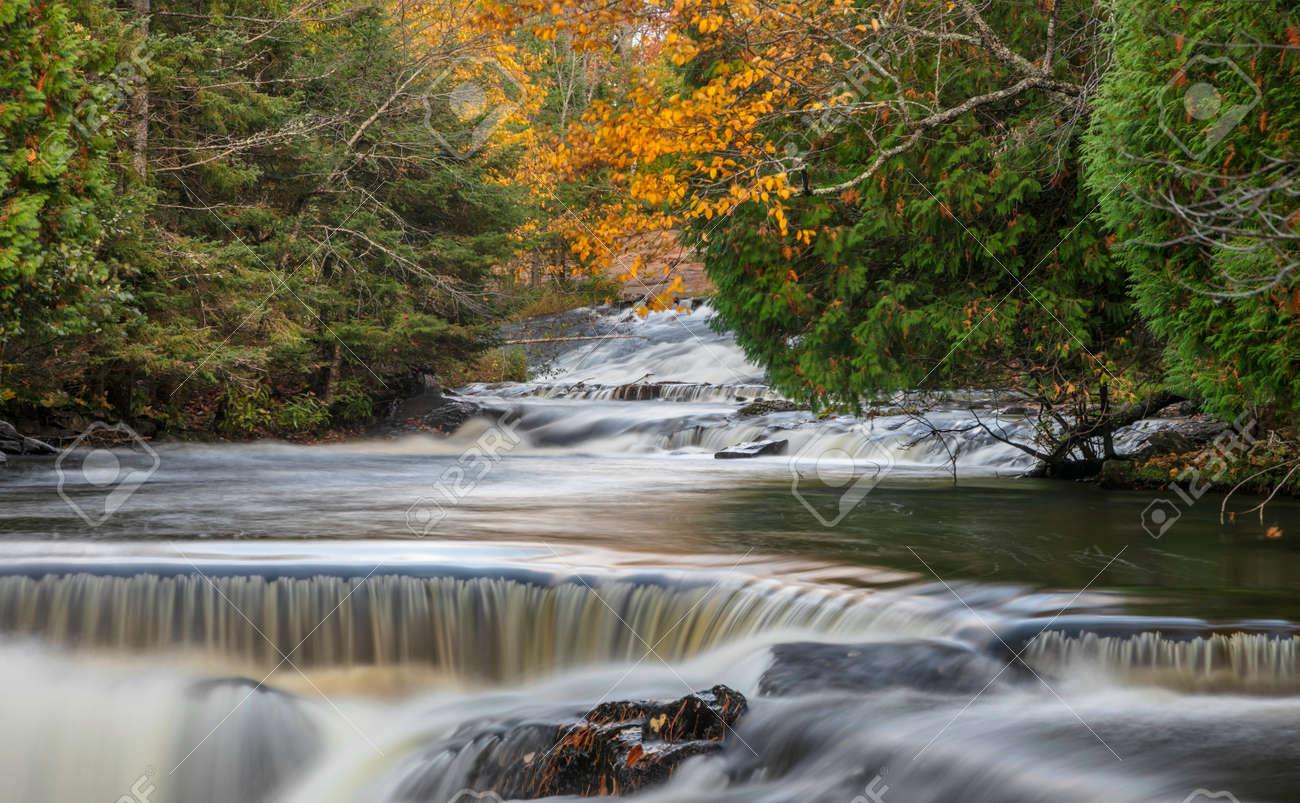 Scenic Upper Bond falls near Paulding in Michigan Upper peninsula - 163916608