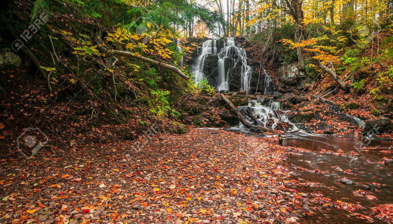 Scenic Hungarian water falls in autumn time in Michigan upper peninsula - 163916623