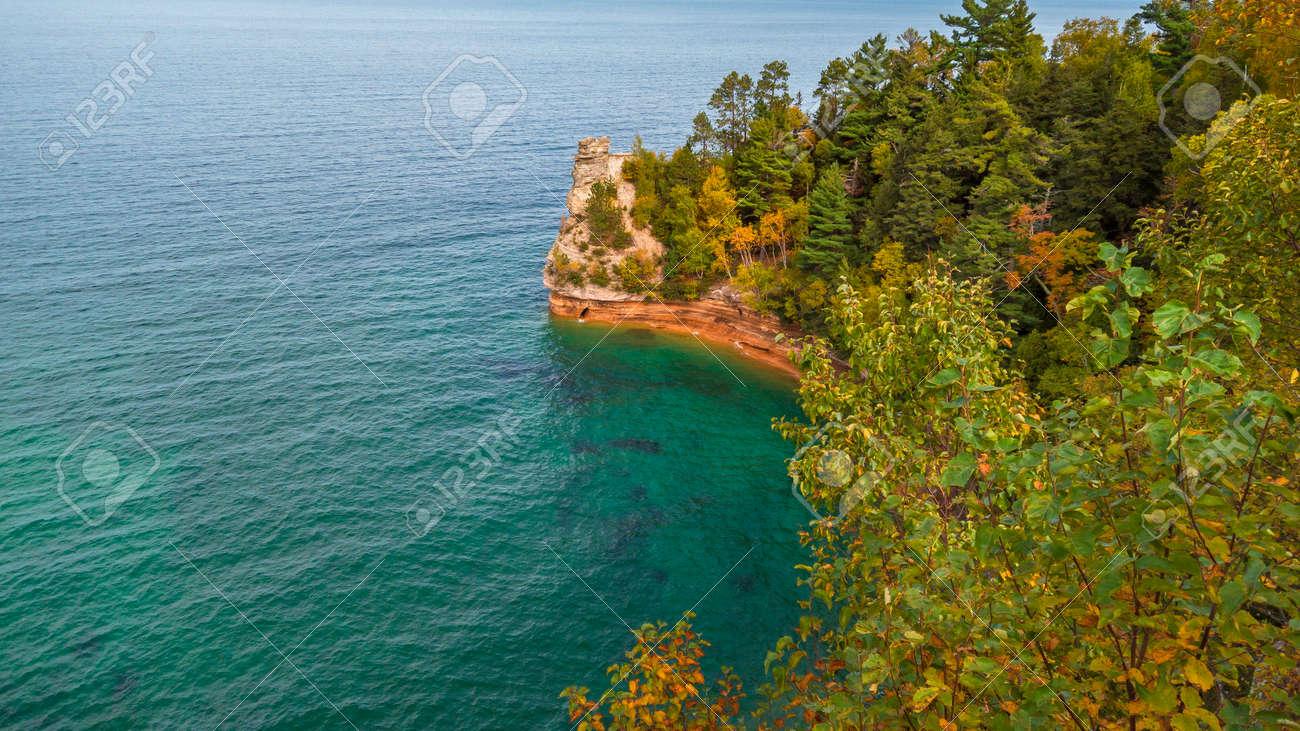 Pictured rocks national lake shore along Superior lake in Michigan upper peninsula - 164161331