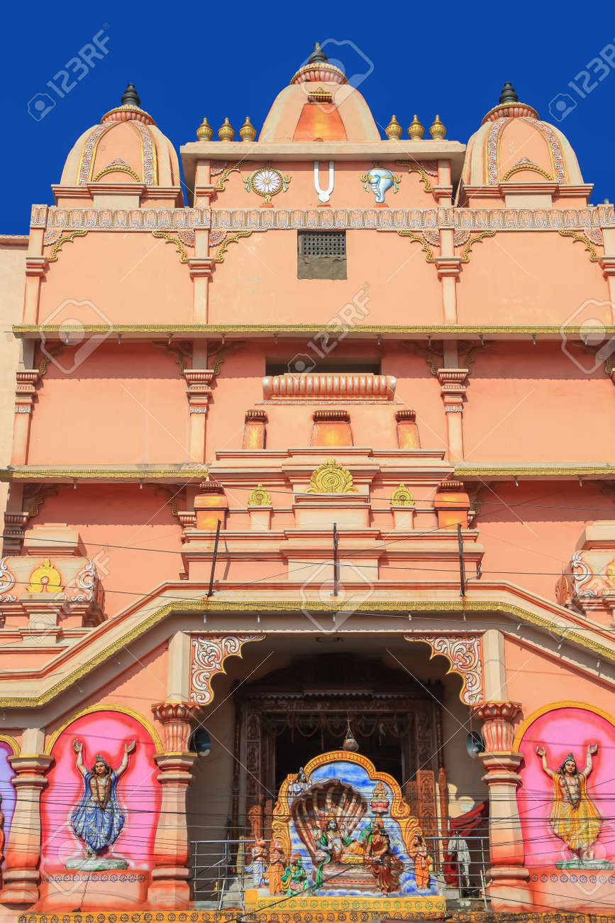 Tall Hindu temple in Visakhapatnam , India. - 164161378