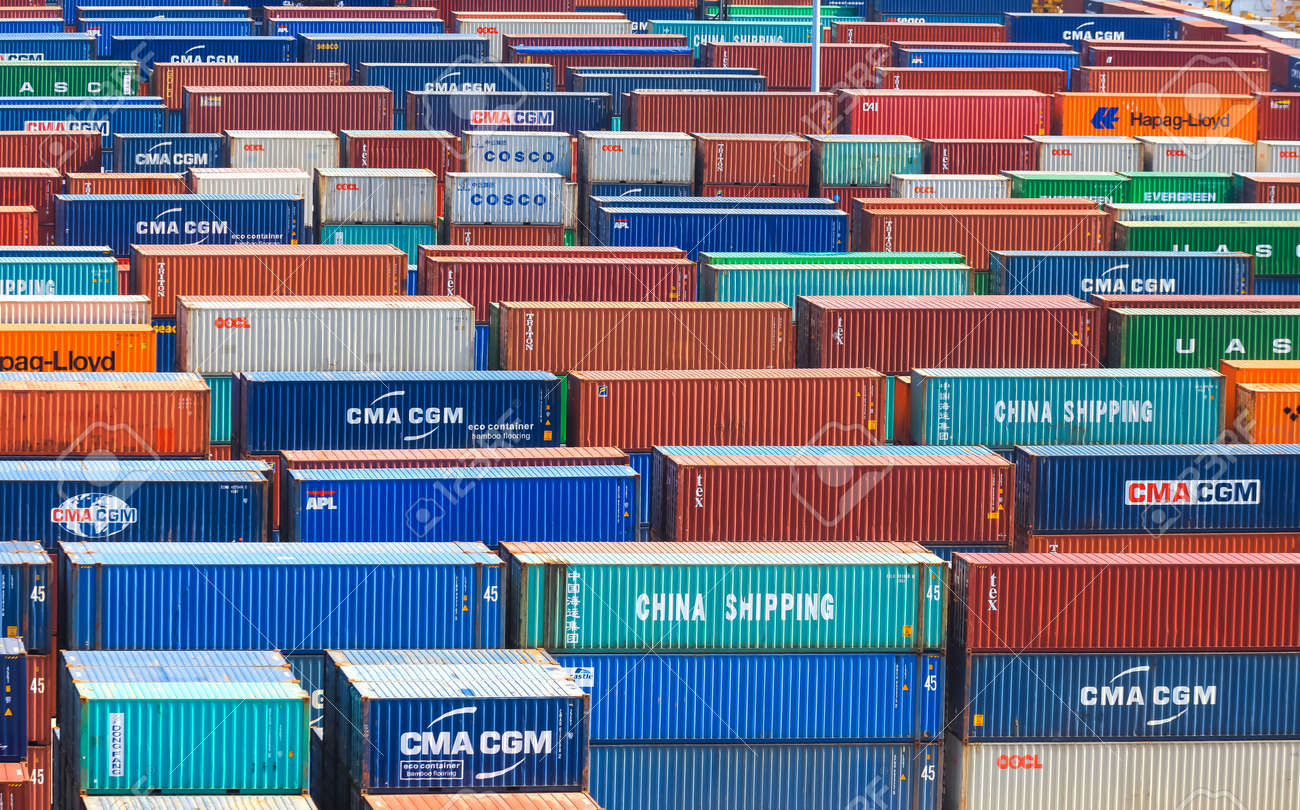 Miami,Florida-July 3,2017: Container terminal at Port of Miami is one of the largest cargo ports in the United states of America - 162282171