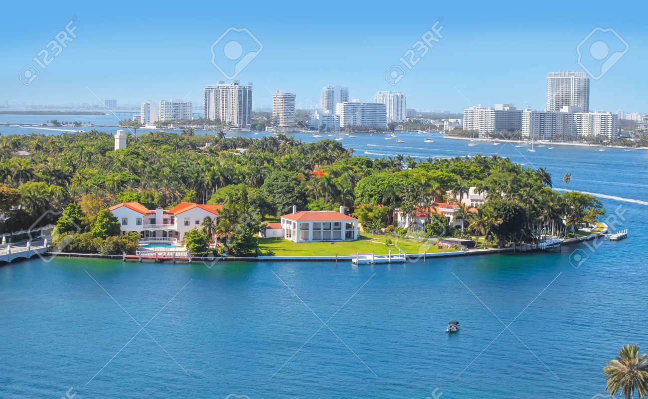 Miami, Florida-July 3,2017: Star Island is a neighborhood in the city of Miami Beach on a man-made island in Biscayne Bay, Florida, United States. - 162282172