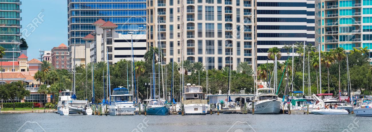 June 22. 2020. Panoramic view of the St. Petersburg municipal Marina in Downtown St. Petersburg, Florida, USA. - 162282174