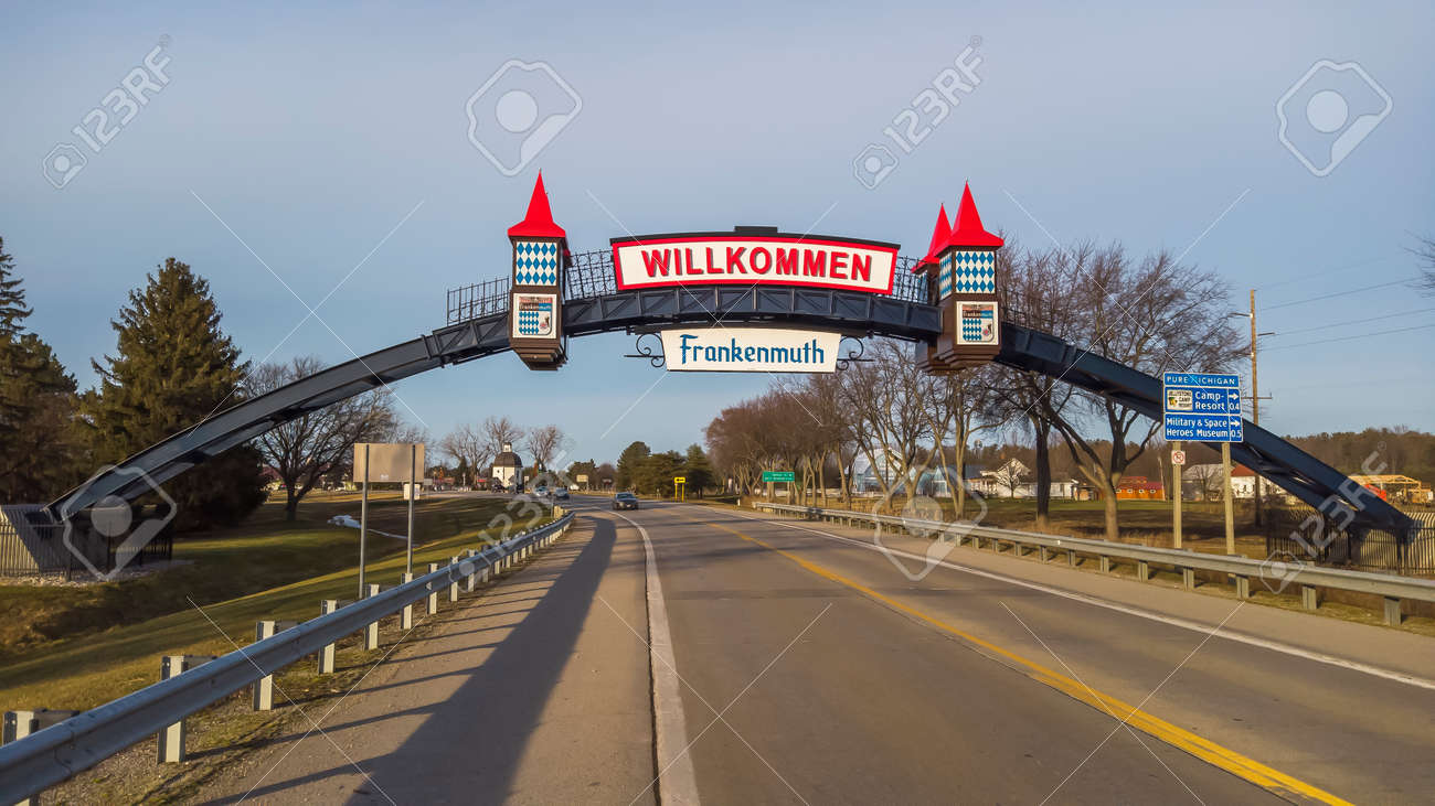 Frakenmuth, Michigan - December 29, 2020: Entrance and welcome sign to historic Frankenmuth village in Michigan. - 163033391