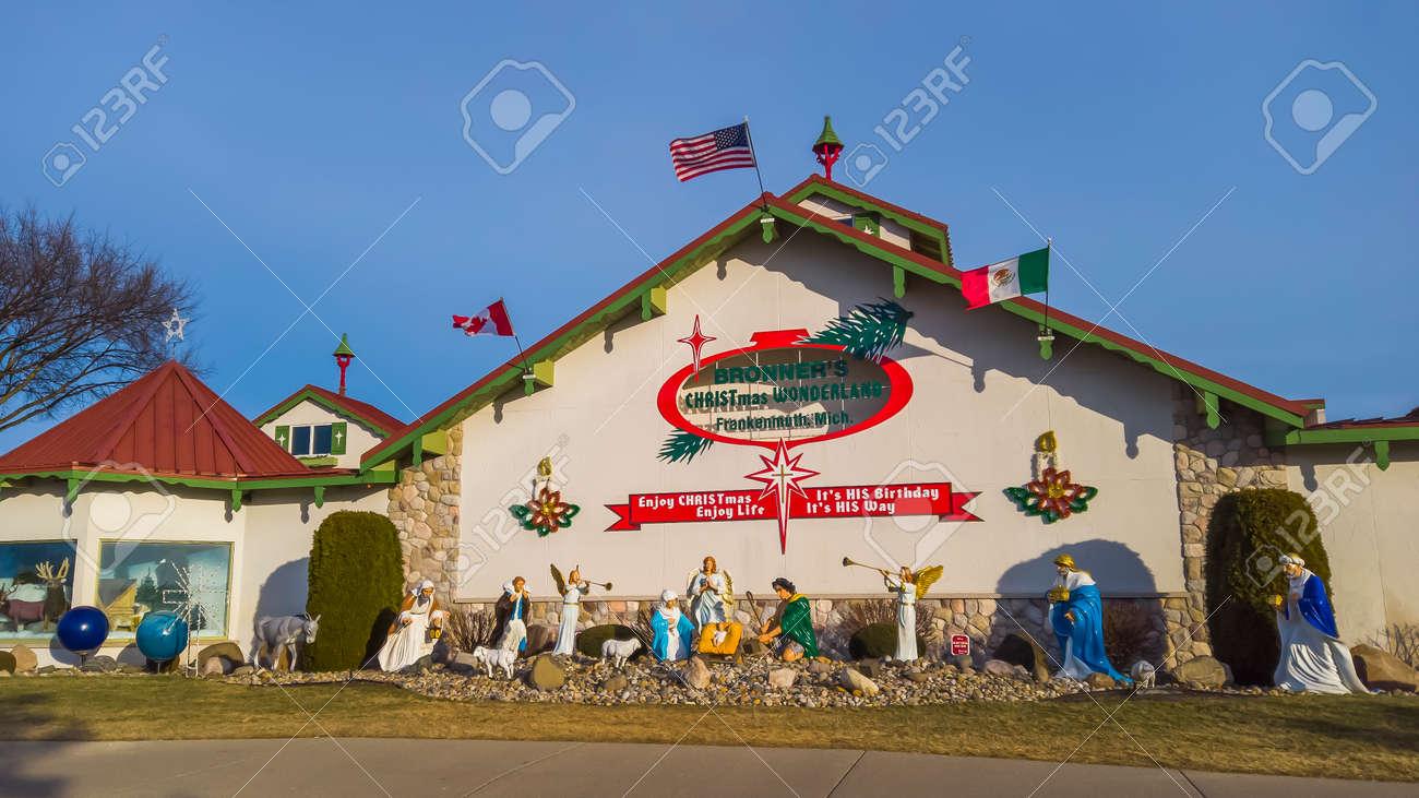 Frakenmuth, MI /USA - December 29, 2020: Bronners Christmas Wonderland in Frankemuth, Michigan is worlds largest Christmas store. - 163033390