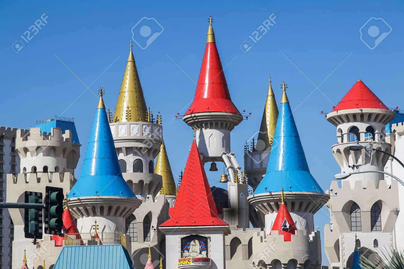 LAS VEGAS, USA - JULY 20, 2009: Excalibur Hotel & Casino architecture in Las Vegas, Nevada, USA - 163033389