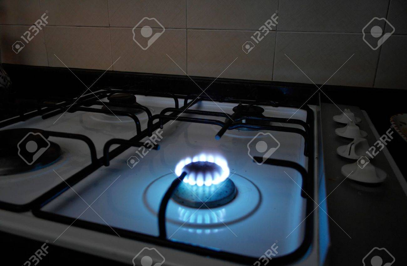 A Natural Gas Burner From A Stove In A Kitchen Stock Photo   590900