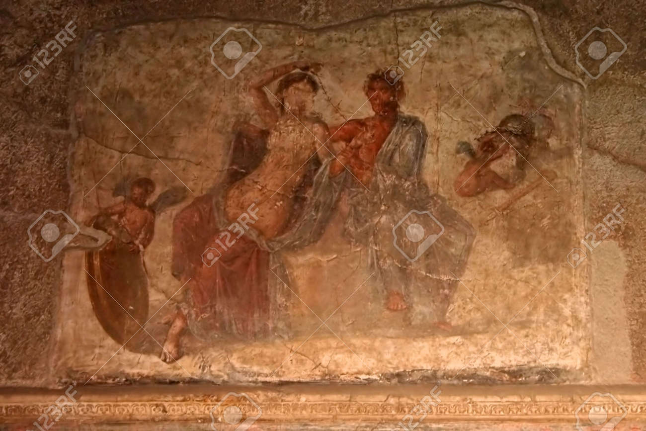 Une Photo D Une Peinture Murale Dans Une Maison Aristocratique De Pompéi Le Pait Dépeignent Une Femme Et L Homme Avec