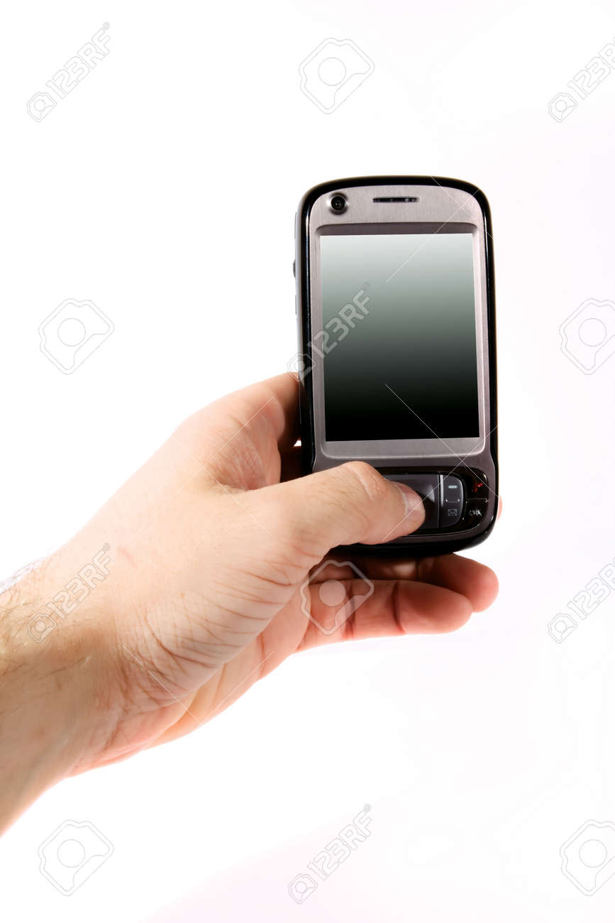 Isolated black smartphone on white background, cell in hand Stock Photo - 4775234
