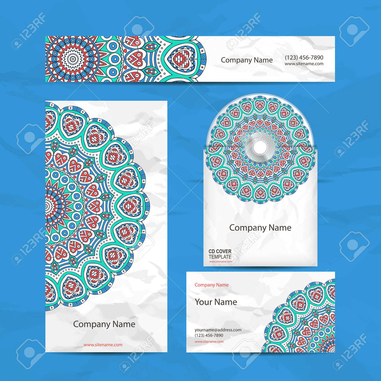 Business Card Collection In Ethnic Style. Hand Draw Royalty Free ...