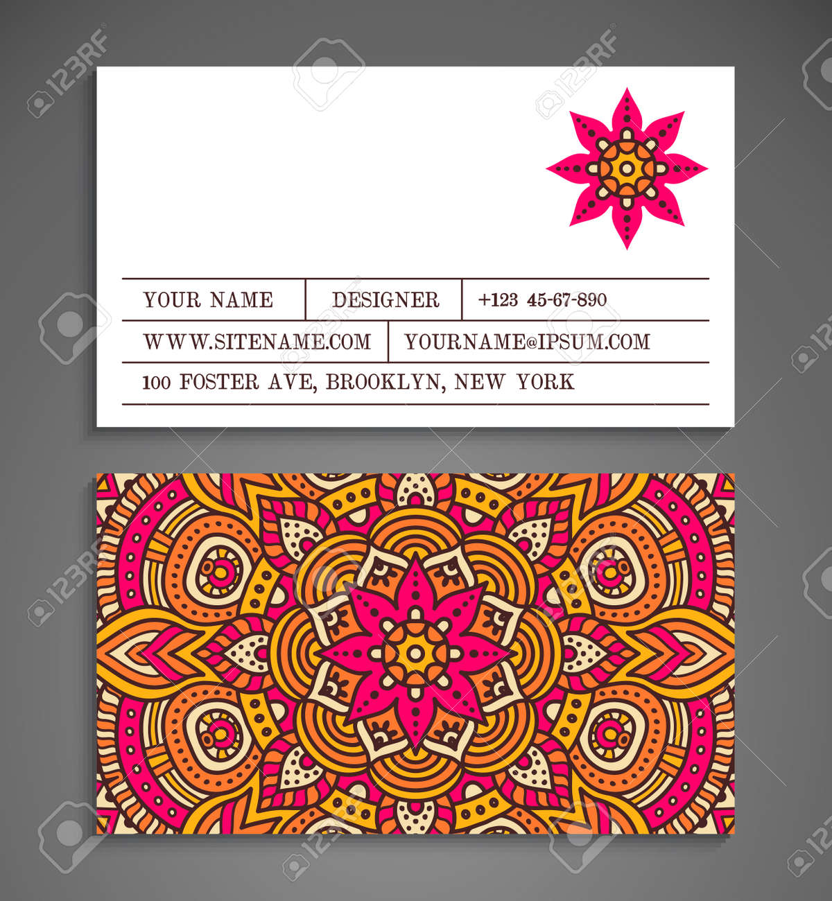 Collection Business Card Or Invitation Vector Background Vintage Decorative Elements Hand Drawn