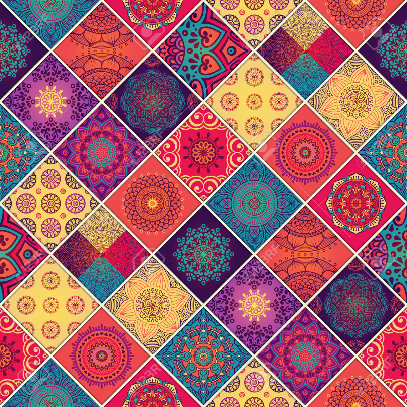 Ethnic floral seamless pattern. Abstract ornamental pattern - 52094087