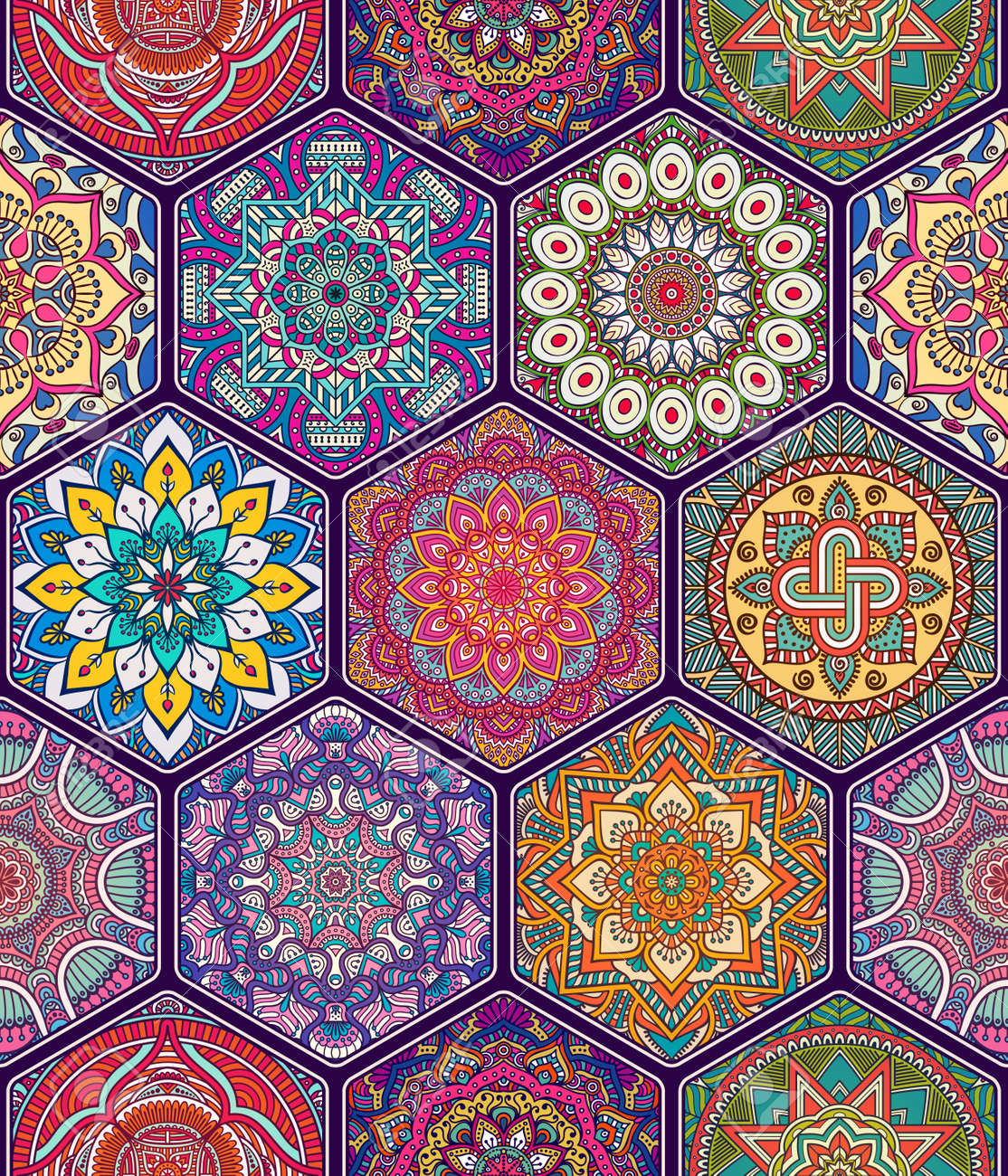 Ethnic floral seamless pattern. Abstract ornamental pattern - 52205917