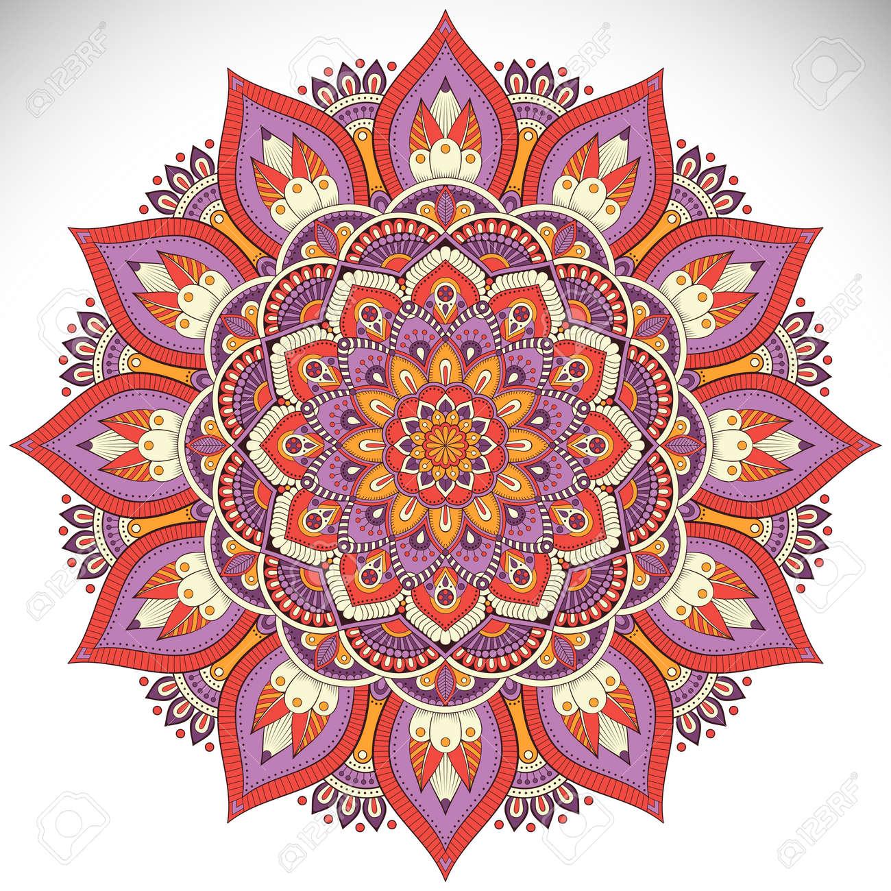 Ornament beautiful card with mandala. Geometric circle element made in vector - 57314436