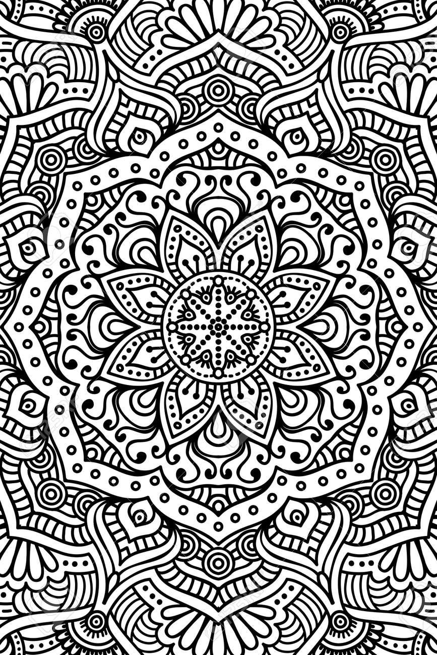 Ornement Belle Carte Avec Mandala élément De Cercle Géométrique Fabriqué En Vecteur Coloriage