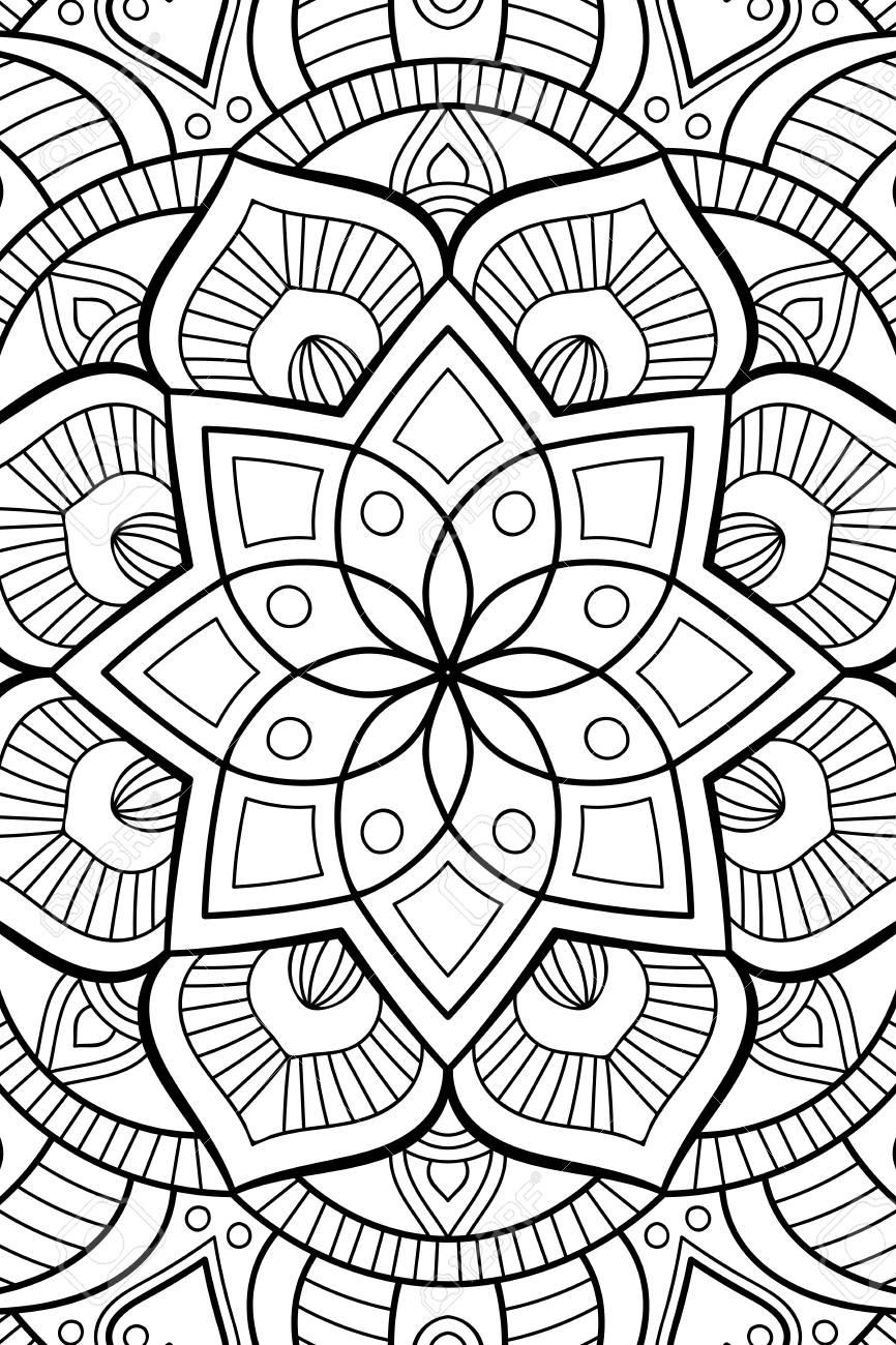 Ornement Belle Carte Avec Mandala élément De Cercle Géométrique Faite Dans Le Vecteur Coloriage