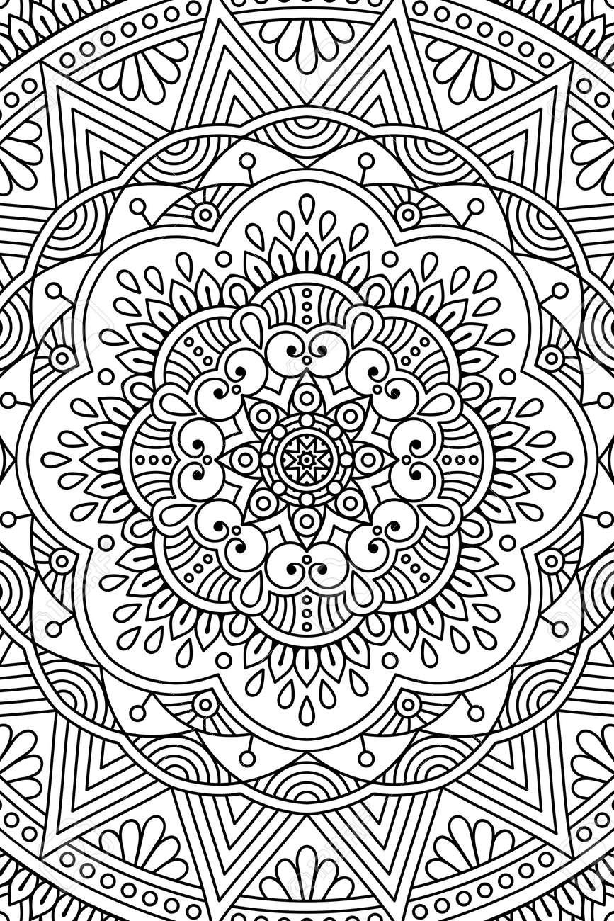 Ornamento Tarjeta Hermosa Con Mandala Circulo Elemento Geometrico