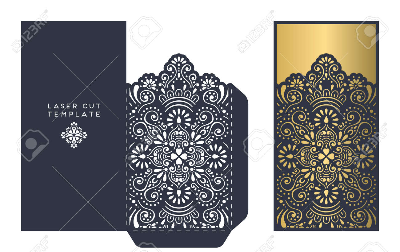 laser cut template envelope, wedding card invitation - 62297241