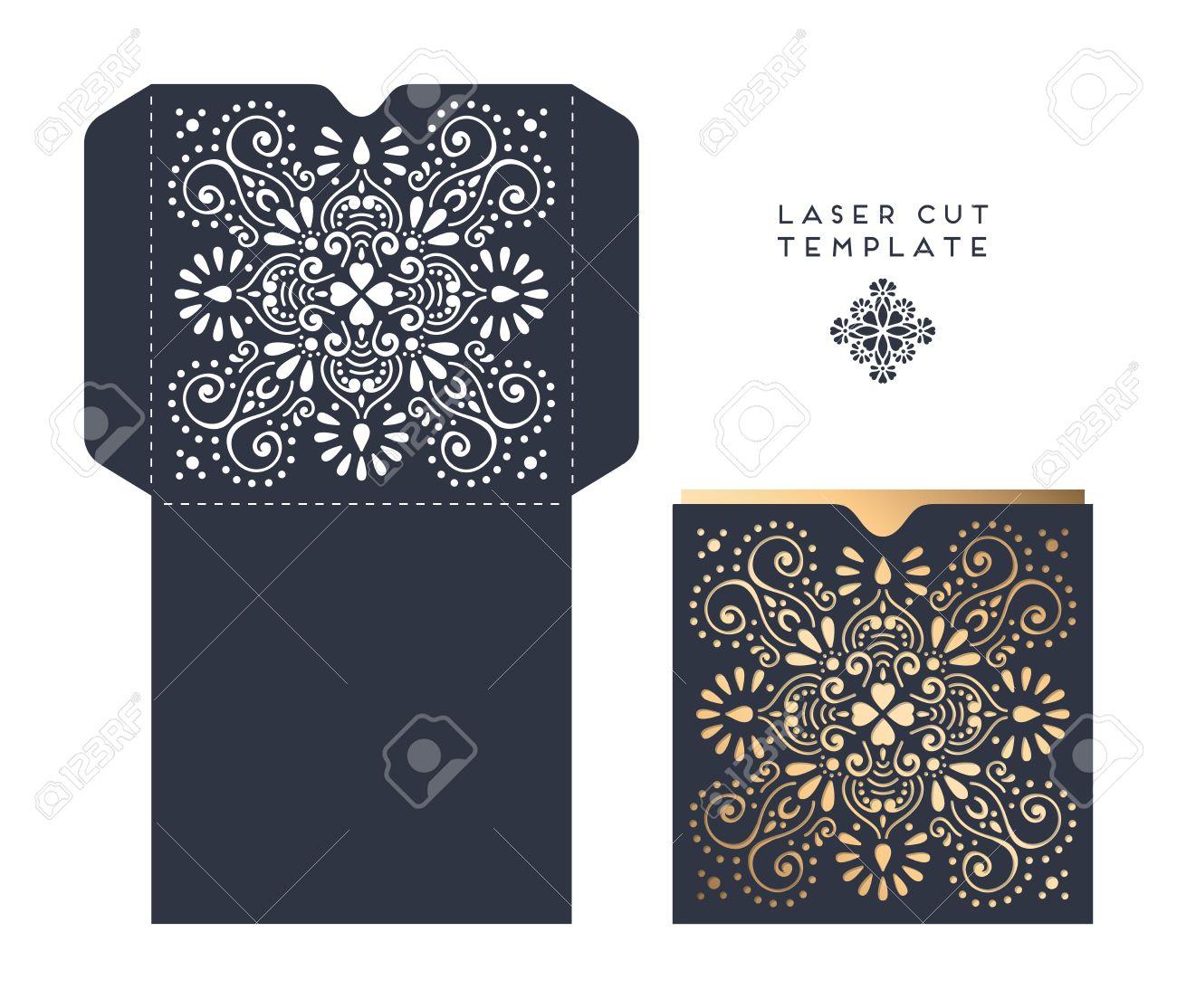 laser cut template envelope wedding card invitation royalty free