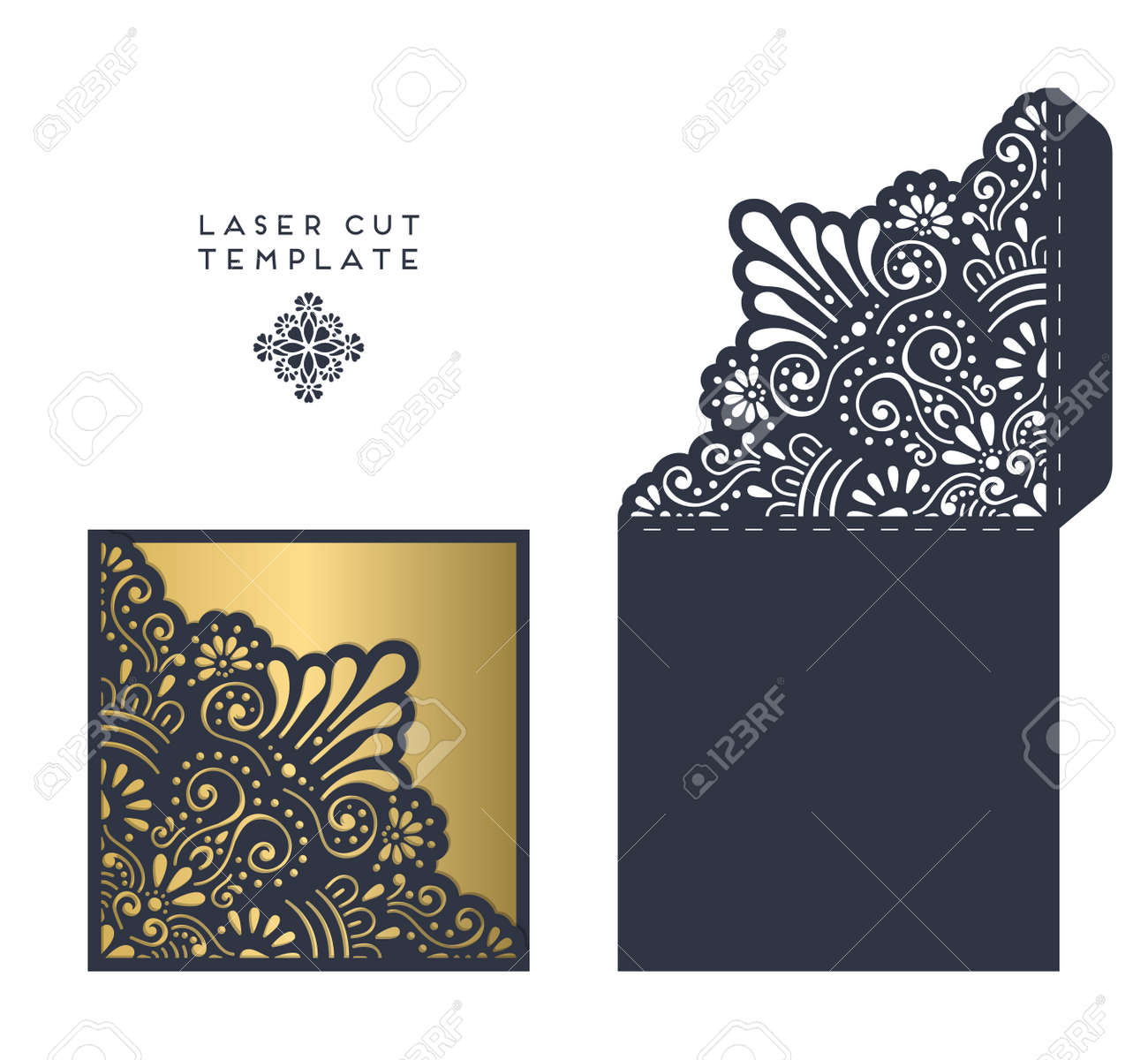 Laser Cut Template Envelope Wedding Card Invitation Royalty Free