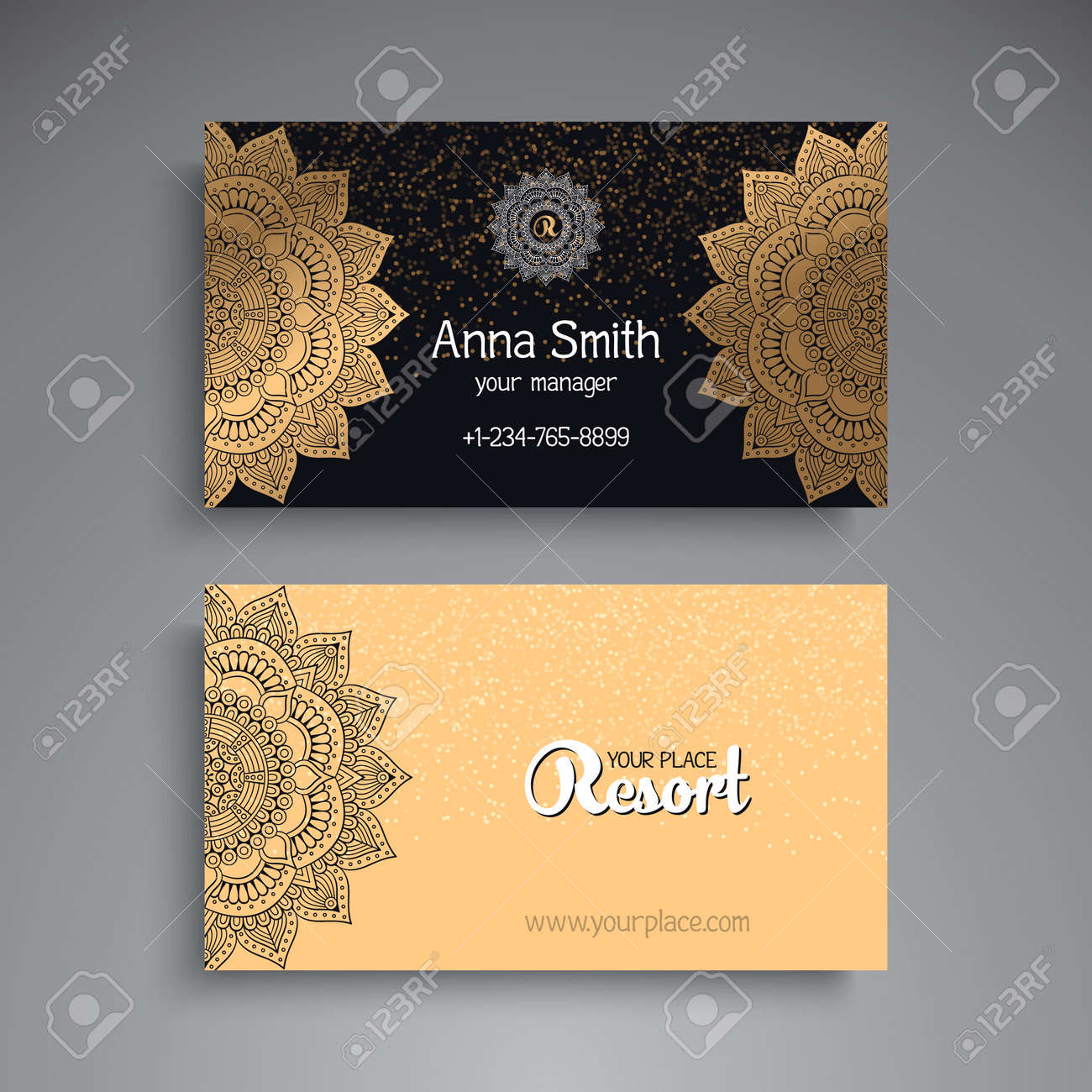 Business Card. Vintage Decorative Elements. Ornamental Floral ...