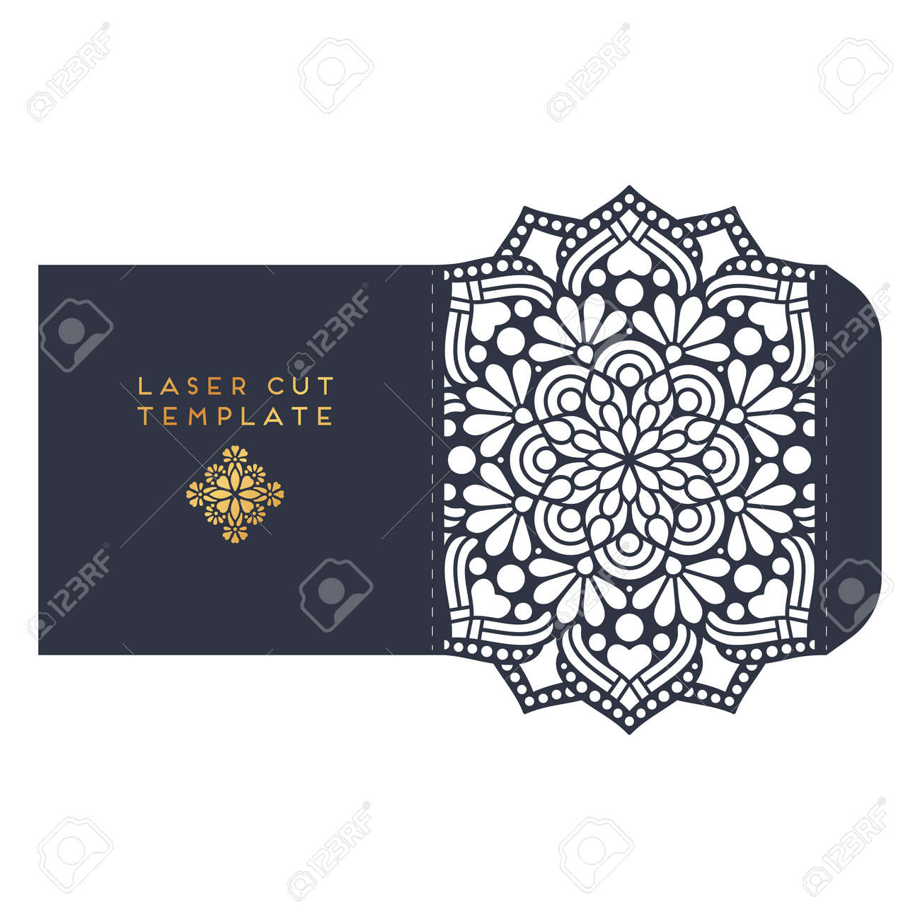 Vector Wedding Card Laser Cut Template. Vintage Decorative Elements ...