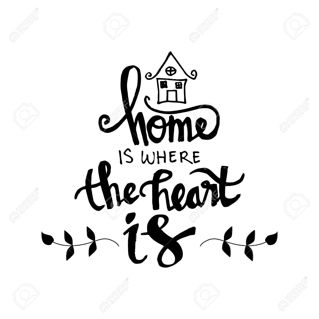 home is where your heart is inspirational quote isolated on plain