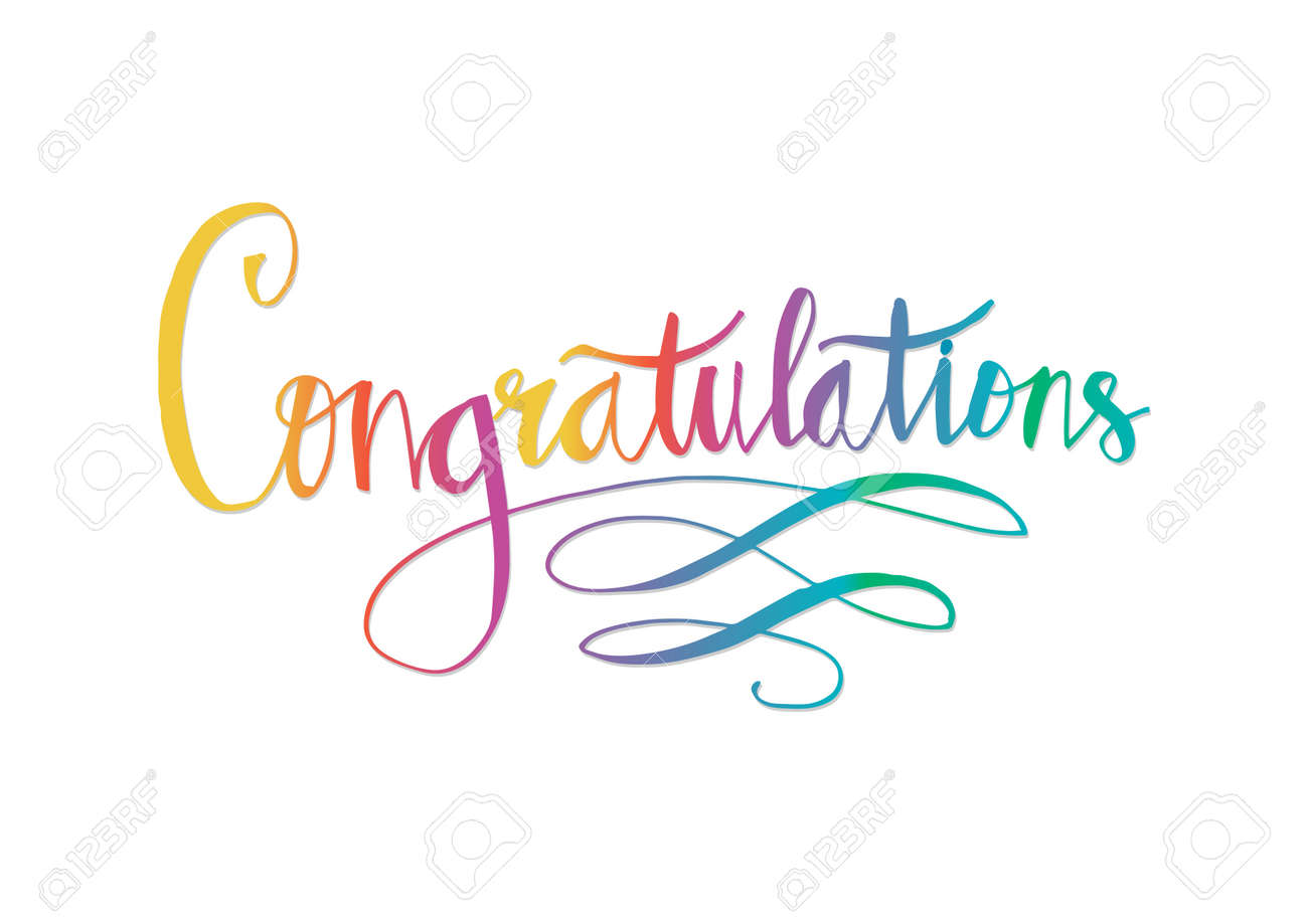 Congratulations typography colorful Illustration. - 98438193