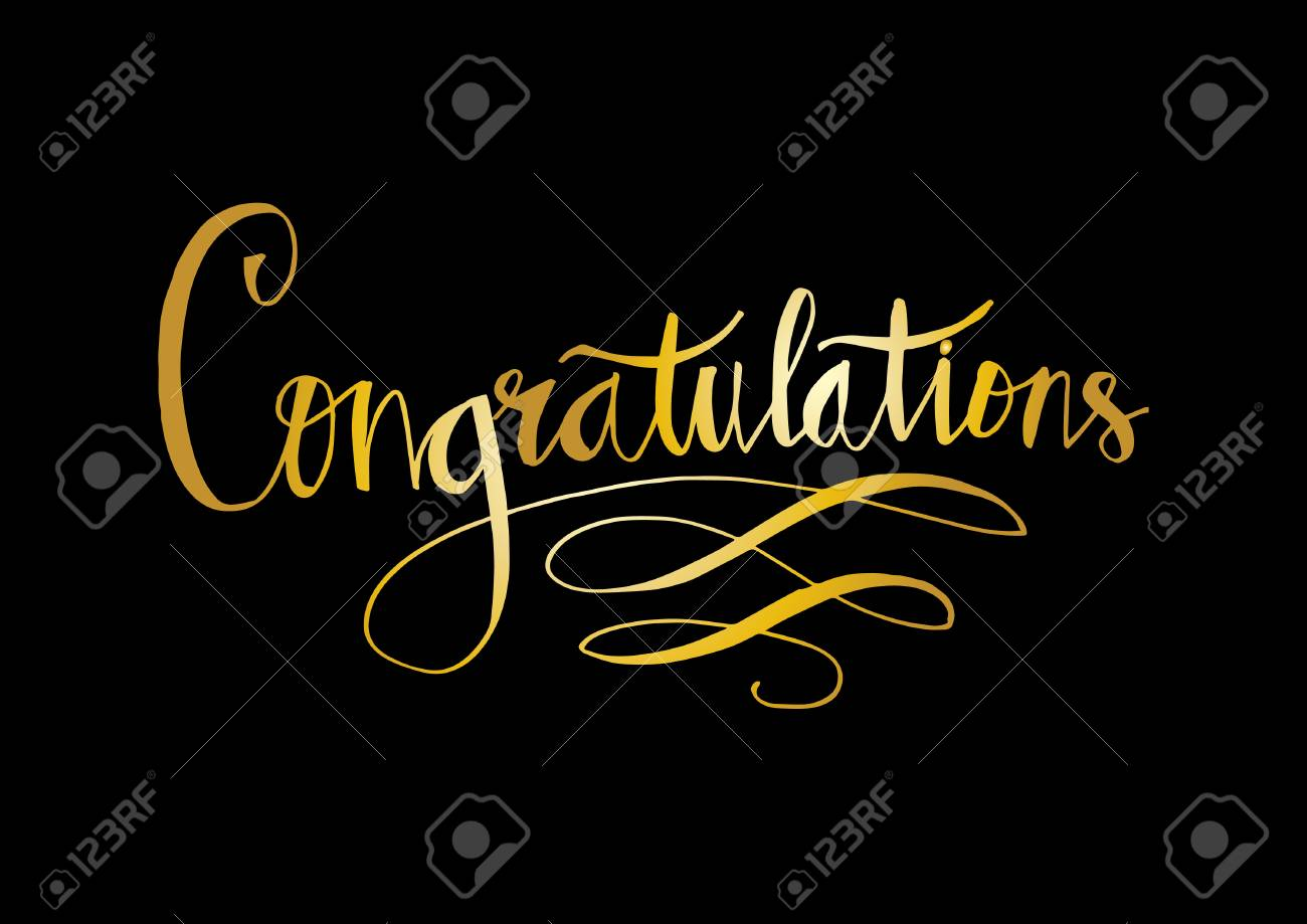 Congratulations text in gold on black background. - 98482859