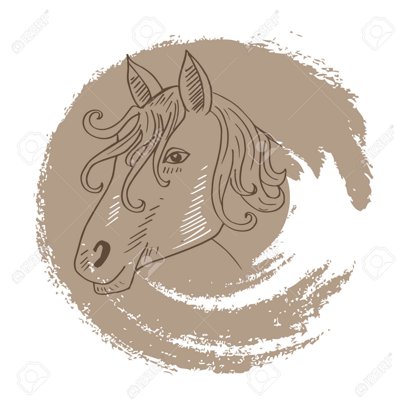 Horse Face Hand Drawing Illustration Royalty Free Cliparts