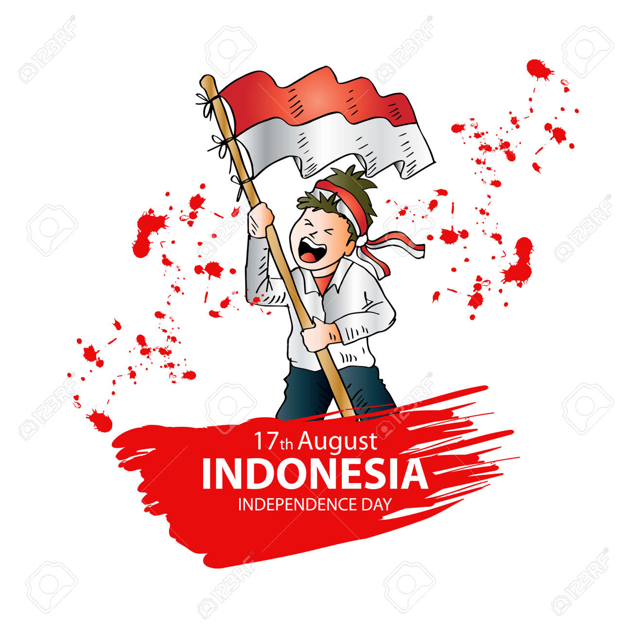 17 August. Indonesia Independence Day greeting card. - 104457508