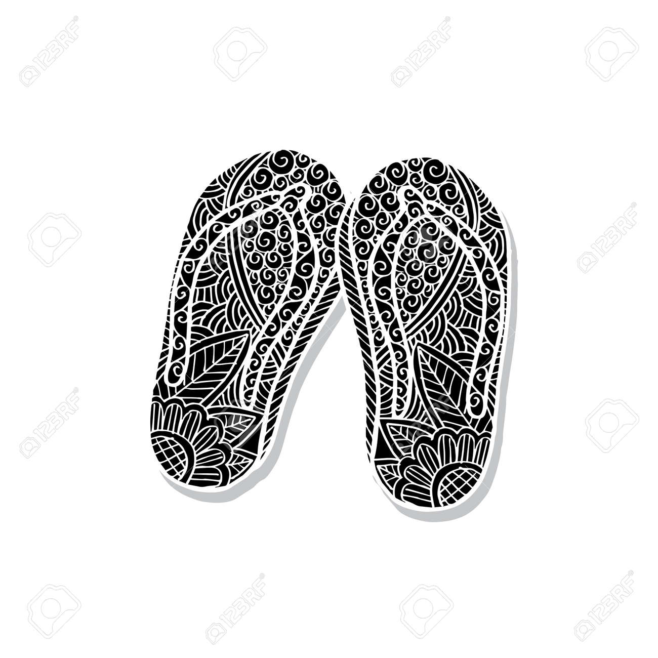 f4e1660c0 Hand Drawn Flip Flops At The Summer Beach Royalty Free Cliparts ...