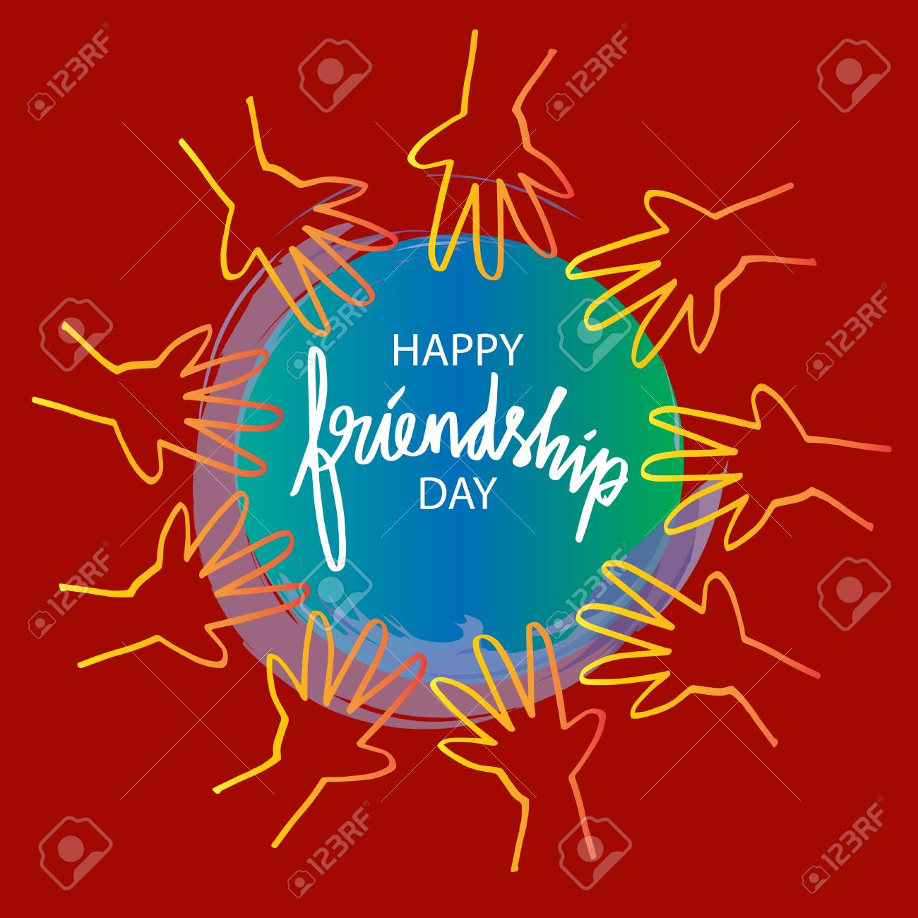 Happy Friendship Day Greeting Card Royalty Free Cliparts Vectors