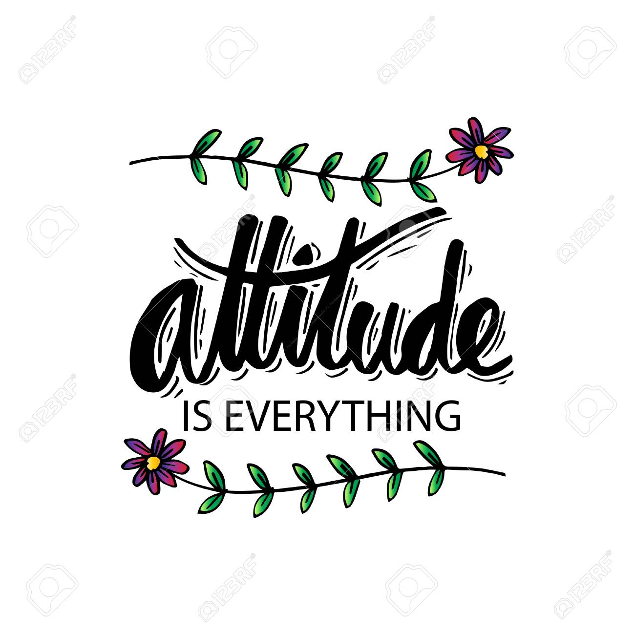Attitude Is Everything Hand Lettering Motivational Quote Royalty
