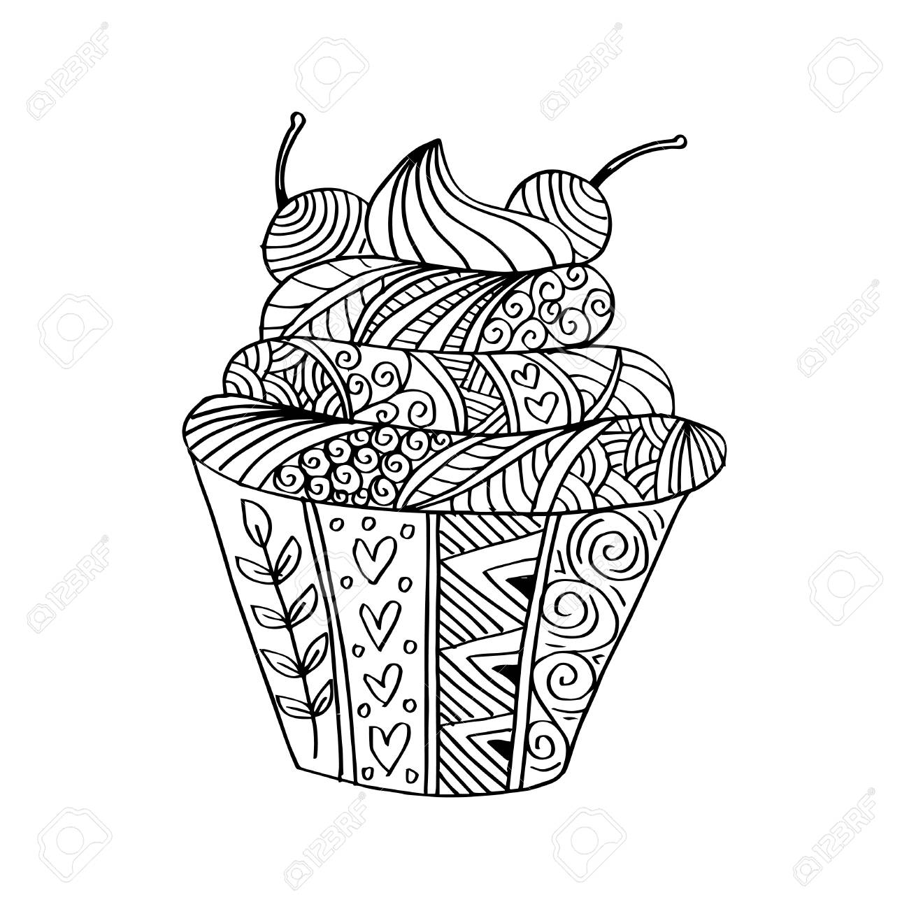 Coloring Page With Cupcake Royalty Free Cliparts Vectors And Stock