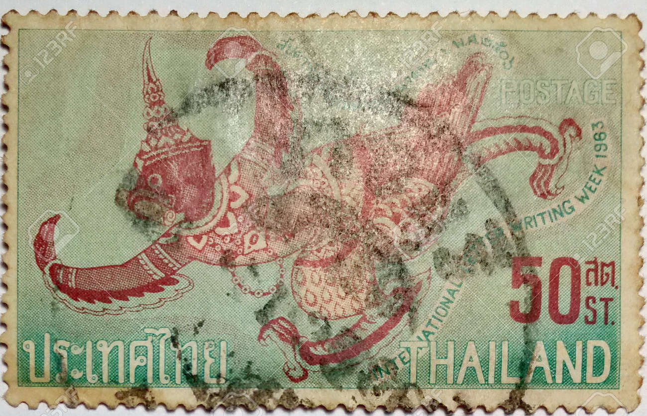 stock photo thailand international letter writing week 1963 post stamp printed in the government printing bureau ministry of finance japan