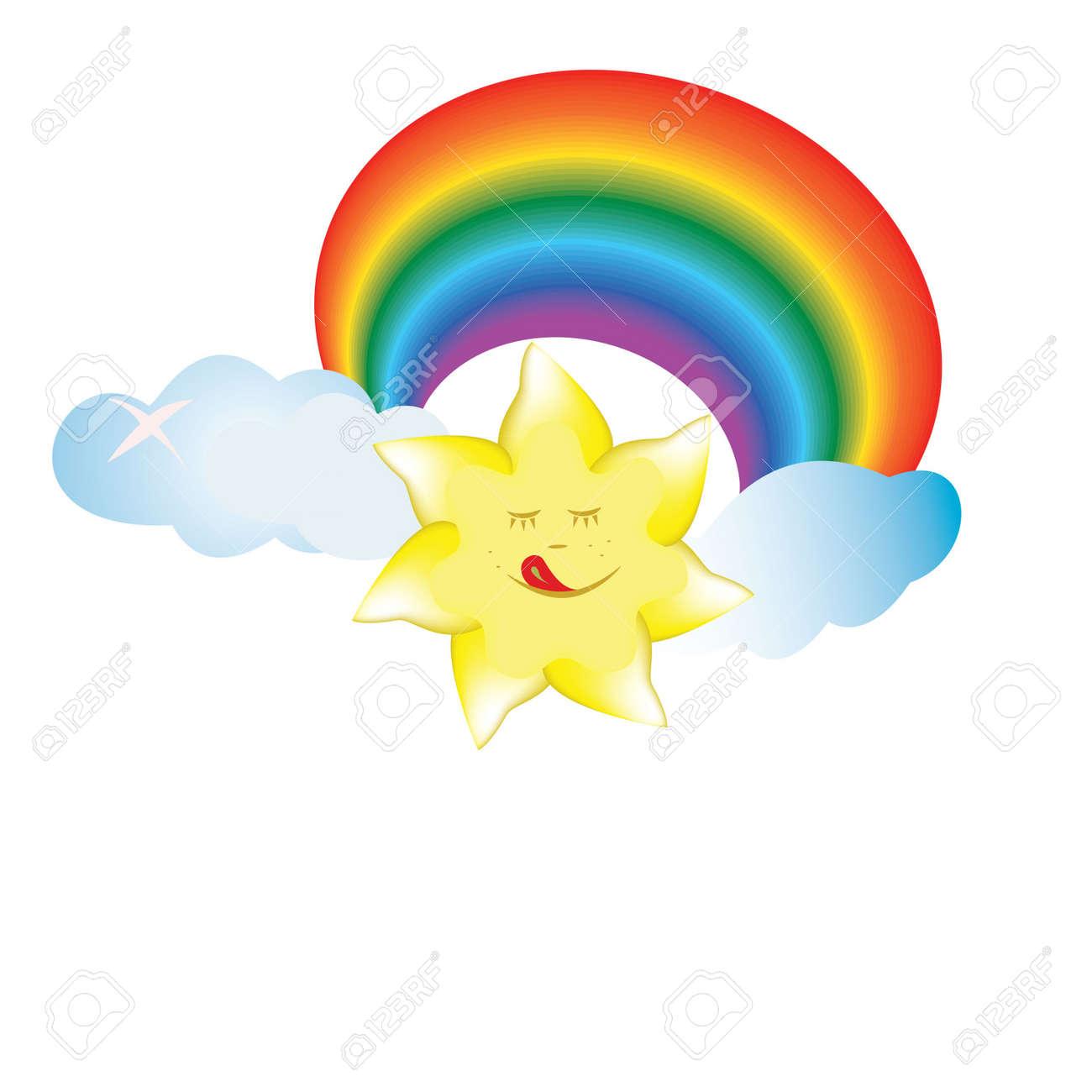 sun, cloud, rainbow, smile, sky, colorful illustration Stock Vector - 20298247