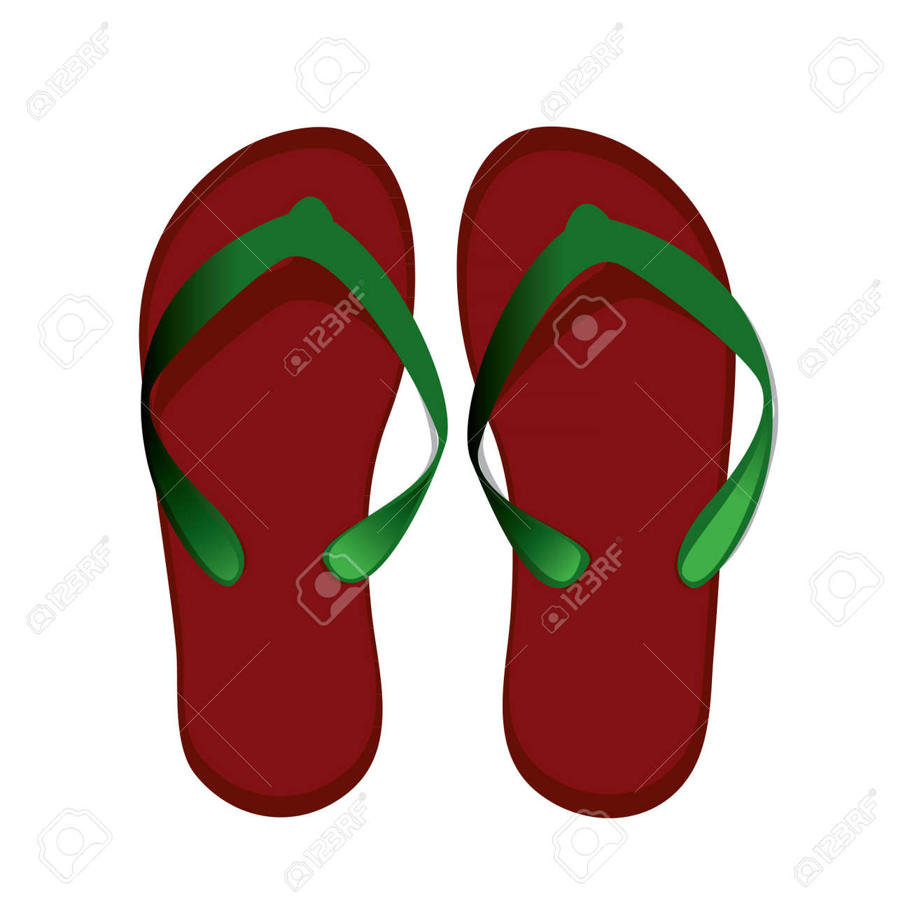 red women's flip-flops for the beach Stock Vector - 20472413