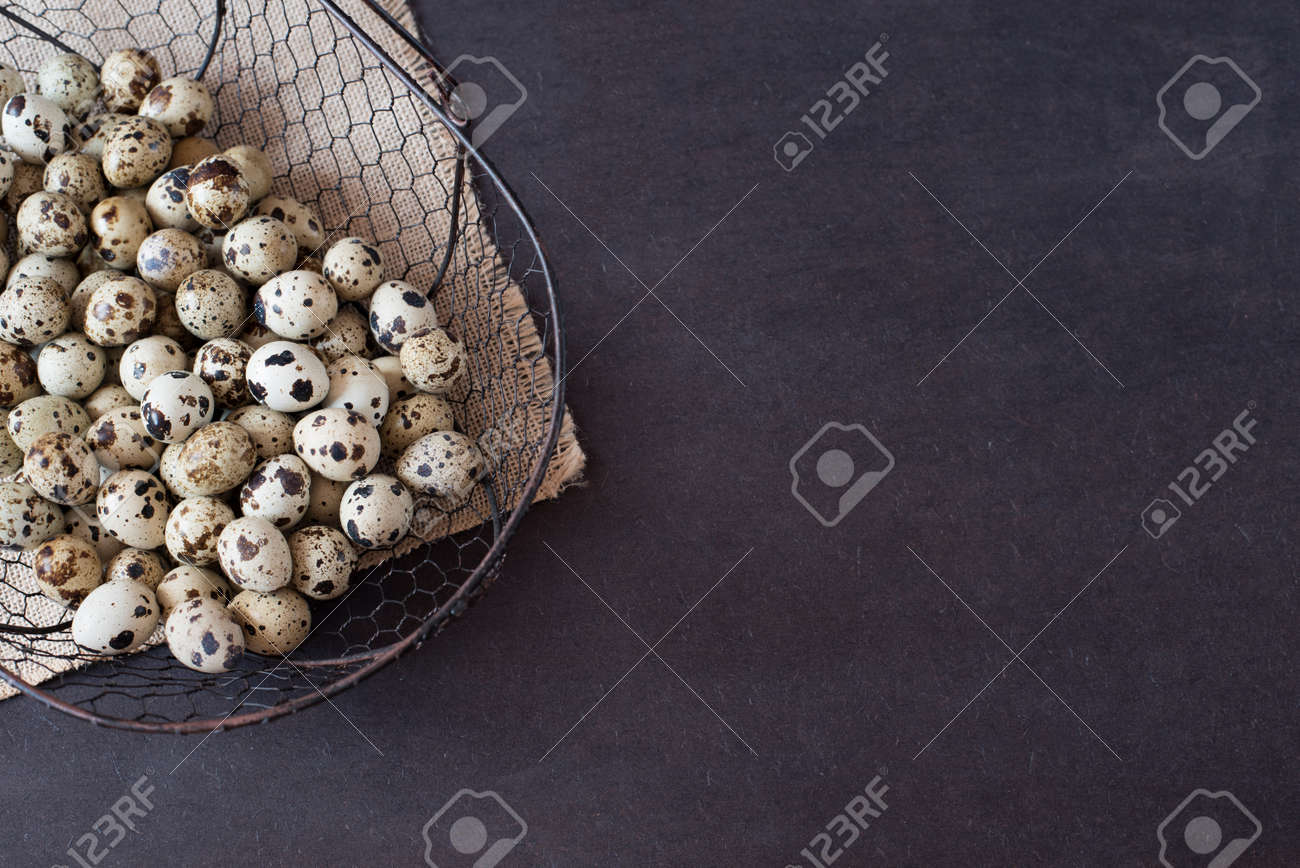 Wire Mesh Basket With Quail Eggs. Dark Food Photography. Rustic ...
