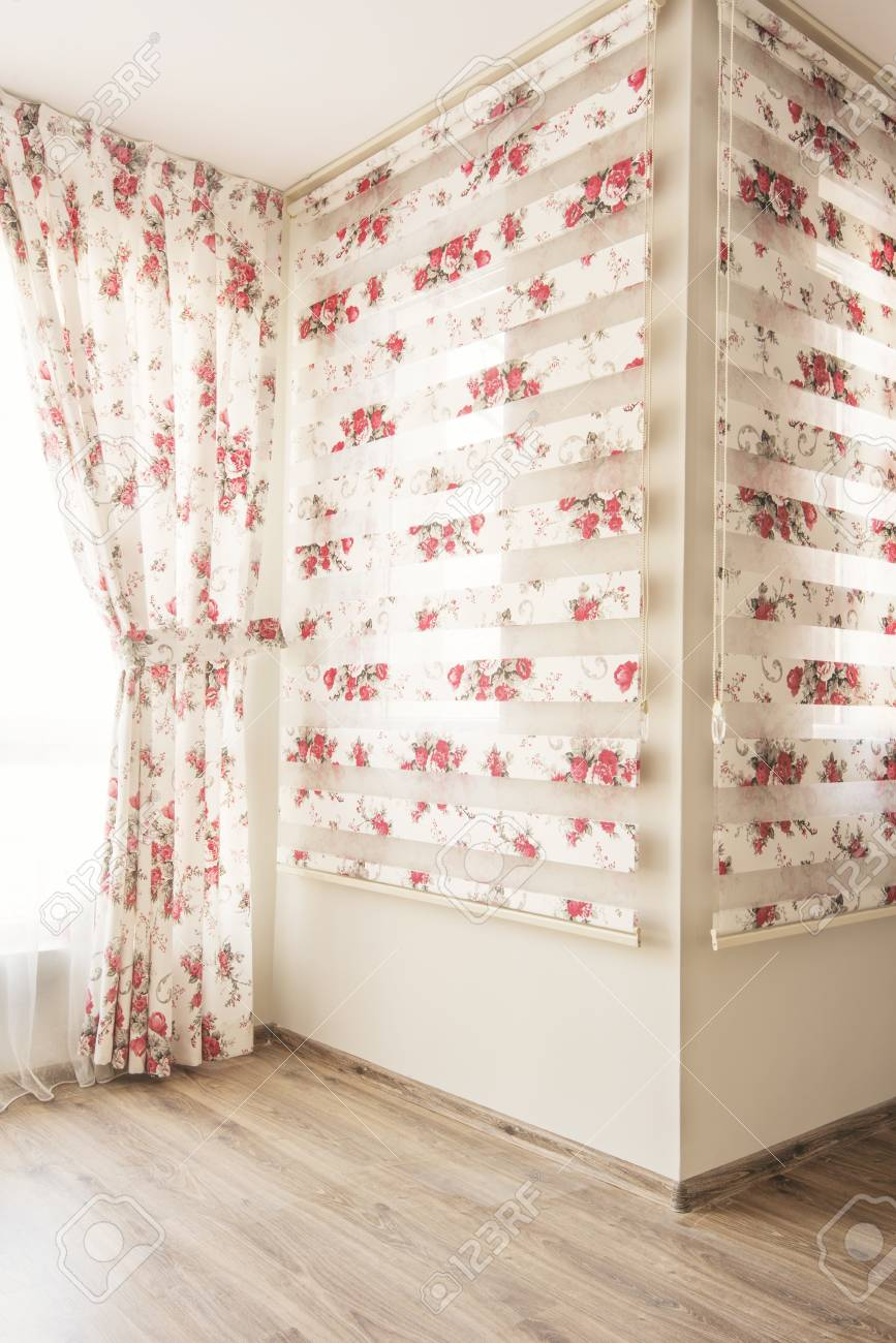 Warm Light Through Sheer White Tulle And Vintage Floral Curtains Stock Photo Picture And Royalty Free Image Image 81689688