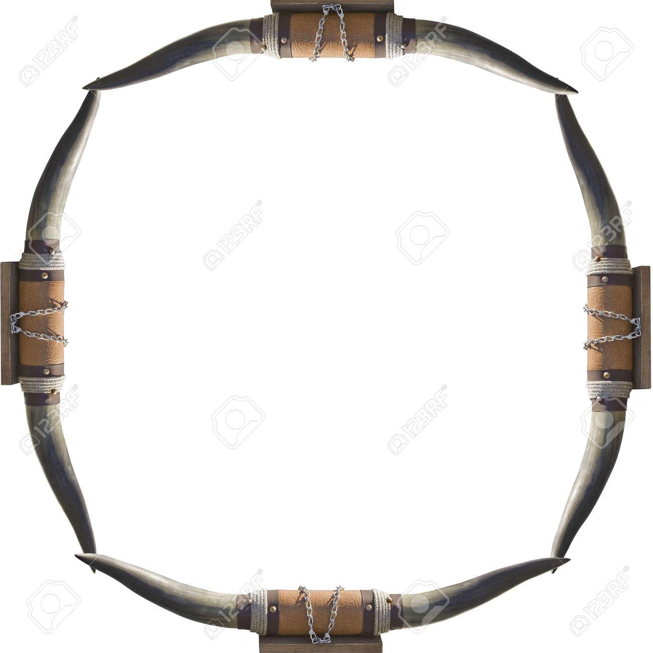 Rahmen Der Stier Kuh-Hörner Auf Weißem Hintergrund Rahmen Ihrer ...