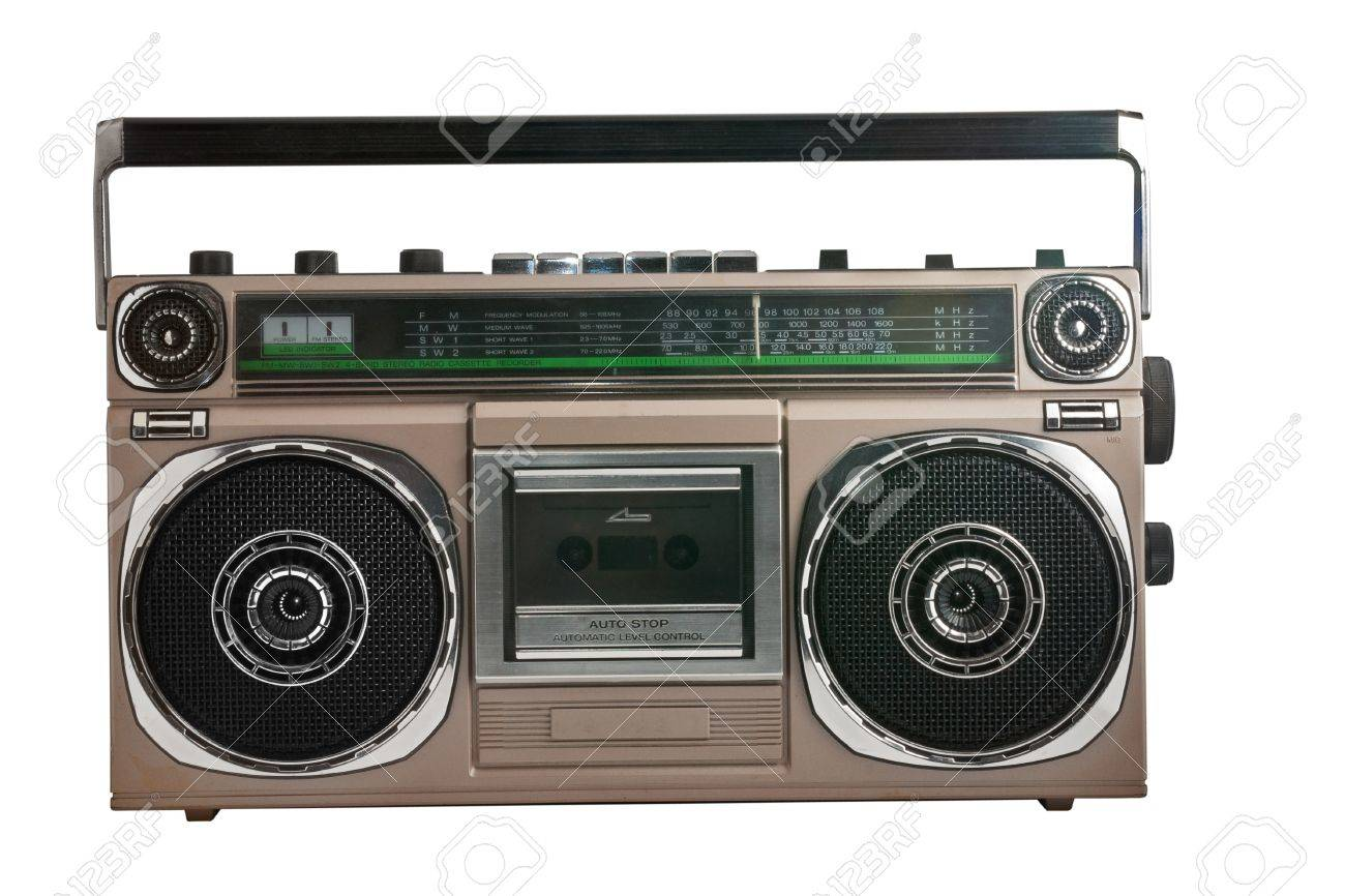 retro ghetto blaster isolated with clipping path Stock Photo - 17960461