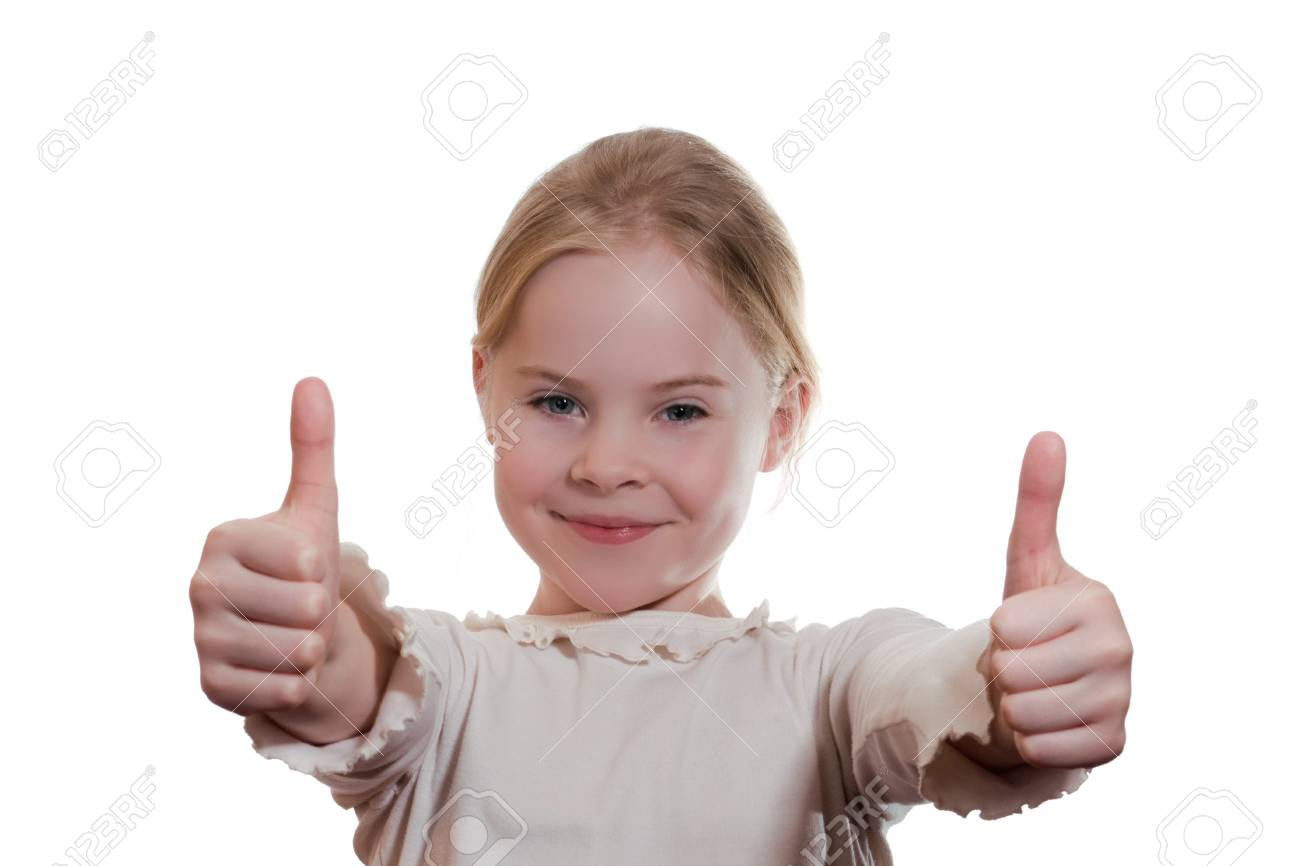 portrait of  girl giving thumbs up isolated on white Stock Photo - 18188477