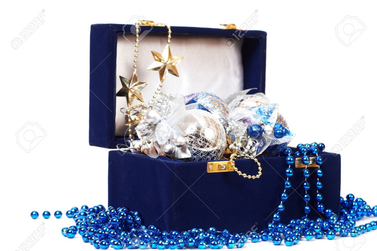christmas decoration in blue box Stock Photo - 18175638